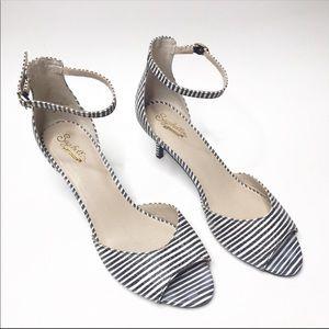 Seychelles Striped Ankle Strap Heels Sz 10